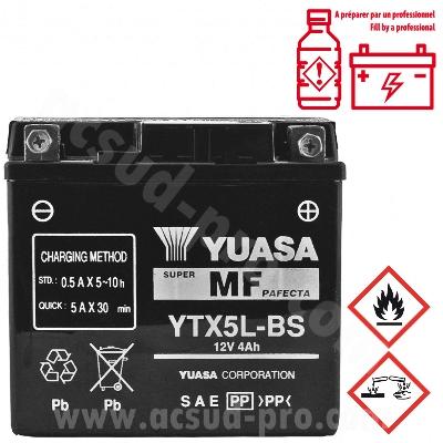 BATTERIE YUASA YTX5L-BS 12V-4A SANS ENTRETIEN SCARABEO / VIVACITY / DERBI DRD PRO / KYMCO AGILITY 50 4T