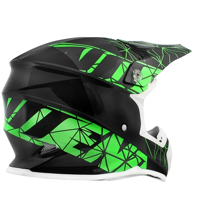 CASQUE CROSS NOEND ORIGAMI BLACK/GREEN SC15   L