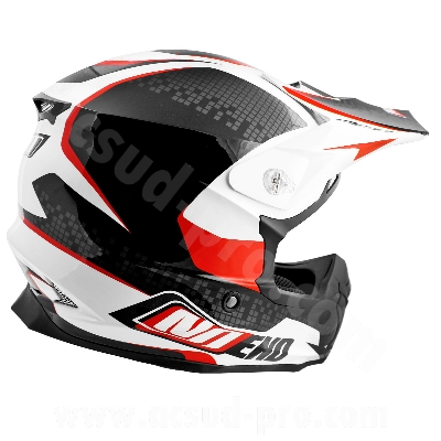CASQUE CROSS NOEND DEFCON BY OCD WHITE/RED TX696  XL