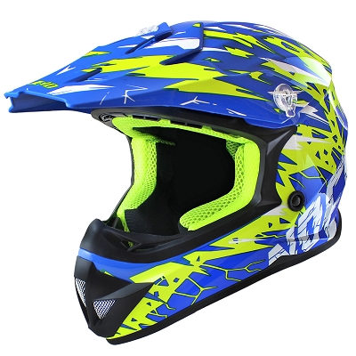 CASQUE CROSS NOEND CRACKED BLEU   L