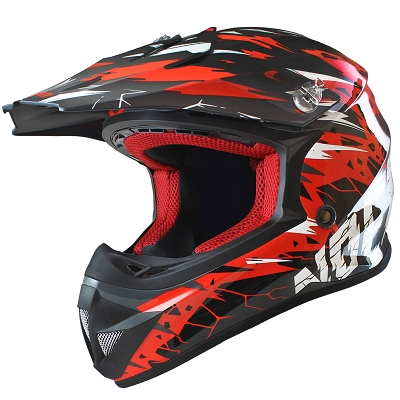 CASQUE CROSS NOEND CRACKED ROUGE  XL