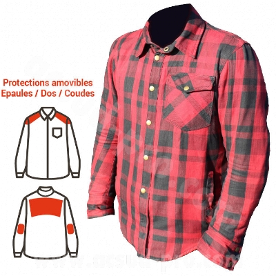 SURCHEMISE ARCHIVE MOTORCYCLE WOODY ROUGE/NOIRE     S