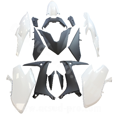 KIT CARROSSERIE ADAPT. YAMAHA TMAX 560 2020 WHITE COMPETITION ( 15 PIECES )